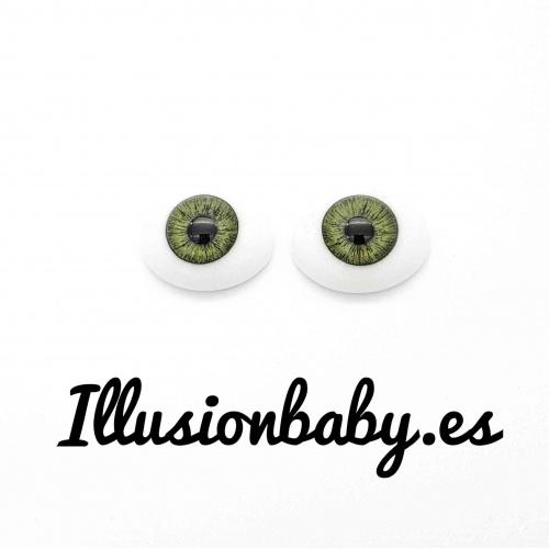 """Ojos 22"""" planos de cristal verdes"""