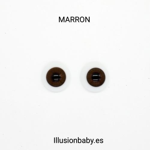 """Ojos Marrones 22"""" Premium de cristal Aleman"""