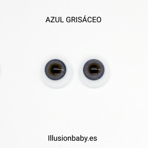 "Ojos Azul Grisáceo 22"" Premium de cristal Aleman"