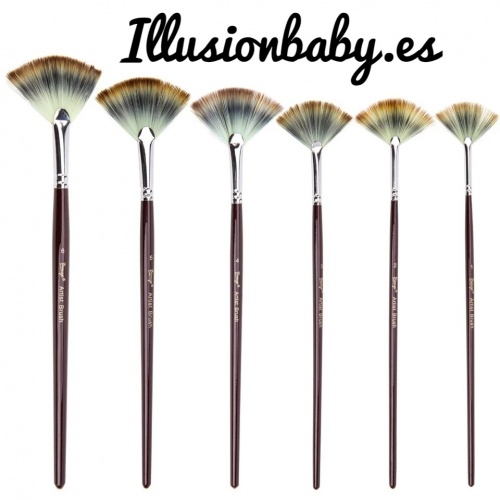 Set of 6 fan-shaped brushes