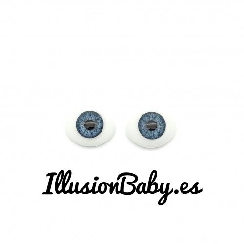 Ojos 22mm planos de cristal azules bebé