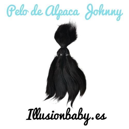 Pelo de Alpaca Johnny Negro para Reborn