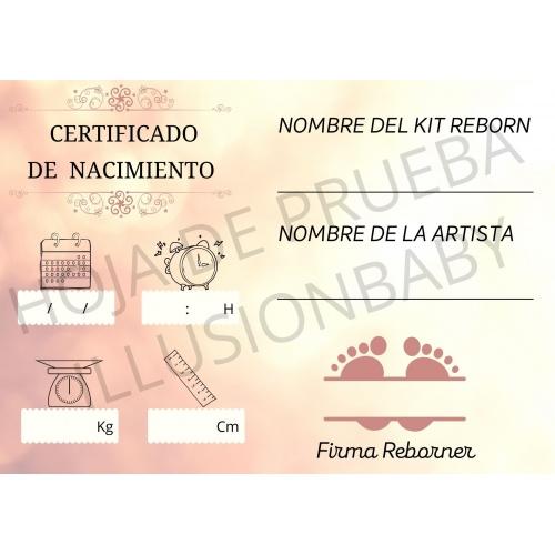 Certificado de Nacimiento Modelo Huellas (PAPEL FOTOGRAFICO)