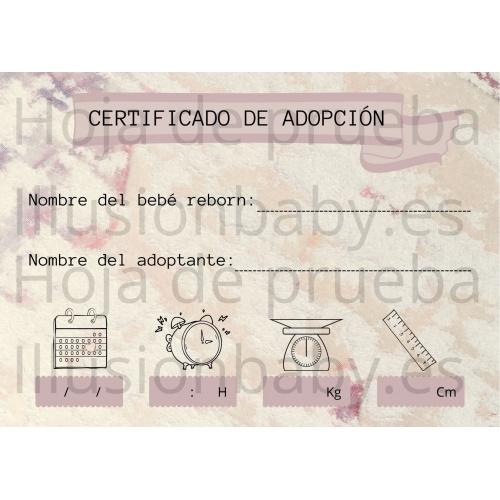 Certificado de Adopción Reborn (PAPEL FOTOGRAFICO)